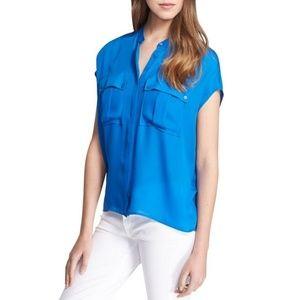 NWOT Vince Danube Blue Cap Sleeve Silk Blouse